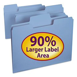 Smead Colored File Folders, 1/3 Cut, 11 Point Stock, Letter, Blue