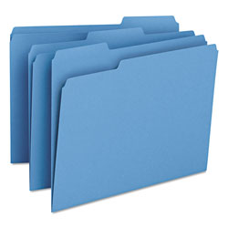 Smead File Folders, Single Ply Top, 1/3 Cut, Letter, Blue, 100/Box