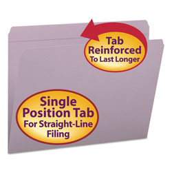 Smead Top Tab File Folders, Double Ply Top, Straight Cut, Letter, Lavender, 100/Box
