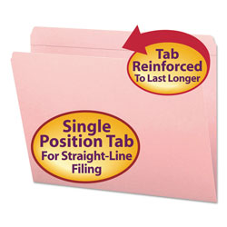 Smead Top Tab File Folders, Double Ply Top, Straight Cut, Letter, Pink, 100/Box