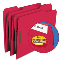 "Smead Folders with Two 2"" Capacity Fasteners, Letter, 1/3 Cut Assorted, Red, 50/Box"
