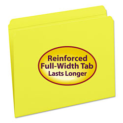 Smead Top Tab File Folders, Double Ply Top, Straight Cut, Letter, Yellow, 100/Box