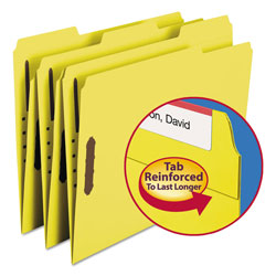 "Smead Folders with Two 2"" Capacity Fasteners, Letter, 1/3 Cut Assorted, Yellow, 50/Box"