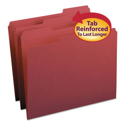 Smead Top Tab File Folders, Double Ply Top, 1/3 Cut, Letter, Maroon, 100/Box