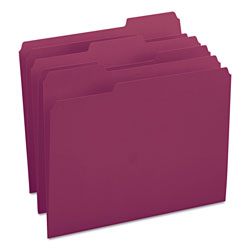 Smead File Folders, Single Ply Top, 1/3 Cut, Letter, Maroon, 100/Box