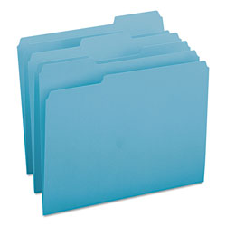 Smead File Folders, Single Ply Top, 1/3 Cut, Letter, Teal, 100/Box