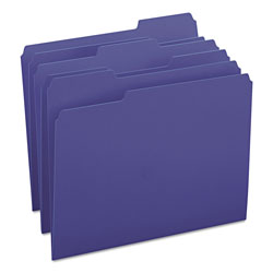 Smead File Folders, Single Ply Top, 1/3 Cut, Letter, Navy, 100/Box
