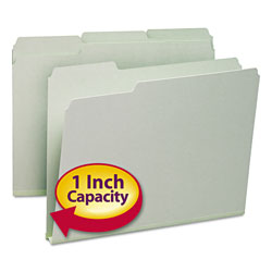 Smead Pressboard File Folders, Top Tab, Letter, 1/3 Cut, Gray Green, 25/Bx