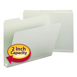 "Smead Pressboard File Folders, Top Tab, Letter, 1/3 Cut, Gray Green, 2"" Exp., 25/Box"
