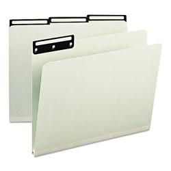Smead Pressboard Insertable Metal Tab Folders, Letter, 1/3 Cut, Gray Green, 25/Box