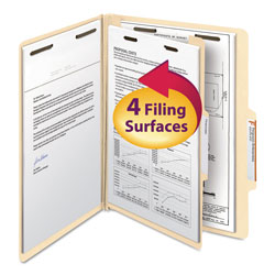 Smead Manila Classification Folders with 2/5 Right Tab, Letter, Four-Section, 10/Box