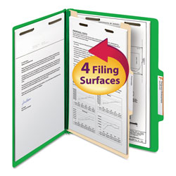 Smead Top Tab Classification Folders, Four Sections, 1 Divider, Green