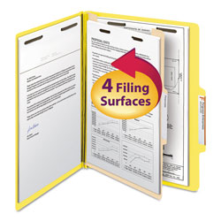 Smead Top Tab Classification Folders, Four Sections, 1 Divider, Yellow