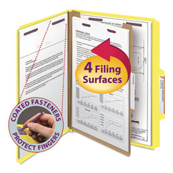 Smead Four Section Pressboard Classification Folders, Letter, Yellow, 10/Box