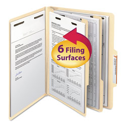 Smead Six Section Manila Classification Folders, 2/5 Right Tab, Letter Size, 10/Box