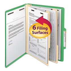 Smead Top Tab Classification Folders, Six Sections, 2 Dividers, Green