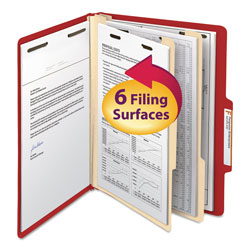 Smead Top Tab Classification Folders, Six Sections, 2 Dividers, Red