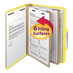 Smead Top Tab Classification Folder, Two Dividers, Six-Section, Letter, Yellow, 10/Box
