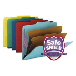 Smead Six Section Pressboard Classification Folders, Letter, Assorted Colors, 10/Box