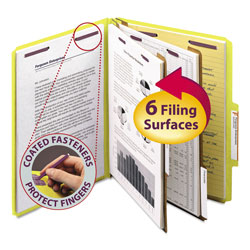 Smead Six Section Pressboard Classification Folders, Letter, Yellow, 10/Box