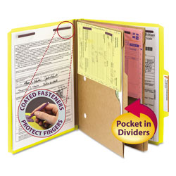Smead Six Section Pressboard Folders with 2 Pocket Dividers, Letter, Yellow, 10/Box