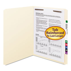 "Smead Manila Folders with One 2"" Capacity Fastener, Letter, Straight Cut, 50/Box"