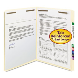 "Smead Manila Folders with Two 2"" Capacity Fasteners, Letter, Straight Cut, 50/Box"