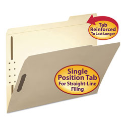 "Smead Manila Folders with Two 2"" Capacity Fasteners, Letter, 1/3 3rd Cut, 50/Box"