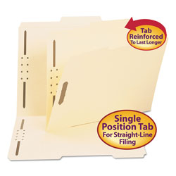 "Smead Manila Folders with Two 2"" Capacity Fasteners, Letter, 2/5 Right Tab, 50/Box"