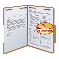 "Smead Kraft Folders with Two 2"" Capacity Fasteners, Letter, 2/5 Right Tab, 50/Box"