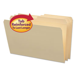 Smead Manila File Folders, Recycled, Double Ply Top, 1/2 Cut, Legal, 100/Box