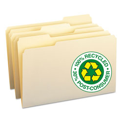 Smead Manila File Folders, 100% Recycled, Single Ply Top, 1/3 Cut, Legal, 100/Box