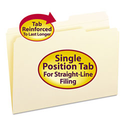 Smead Guide Height Manila Folders, Double Ply Top, 2/5 Cut Right Tab, Legal, 100/Bx