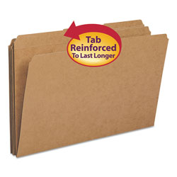 Smead Double Ply Top Heavyweight Kraft Folder, 1/3 Cut Tabs, Legal, 100/Box