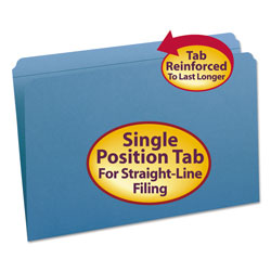 Smead Top Tab File Folders, Double Ply Top, Straight Cut, Legal, Blue, 100/Box