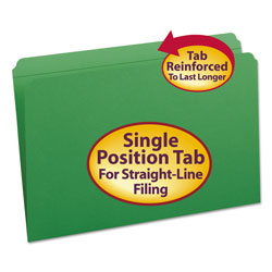 Smead Top Tab File Folders, Double Ply Top, Straight Cut, Legal, Green, 100/Box