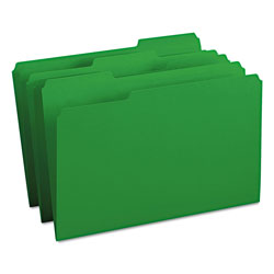 Smead File Folders, Single Ply Top, 1/3 Cut, Legal, Green, 100/Box
