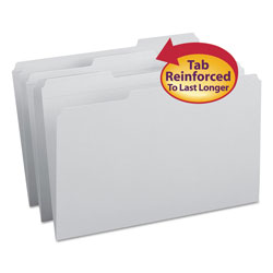 Smead Top Tab File Folders, Double Ply Top, 1/3 Cut, Legal, Gray, 100/Box