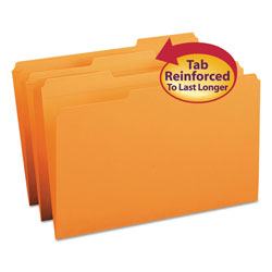 Smead Top Tab File Folders, Double Ply Top, 1/3 Cut Top, Legal, Orange, 100/Box