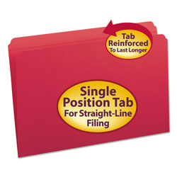 Smead Top Tab File Folders, Double Ply Top, Straight Cut, Legal, Red, 100/Box