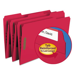 "Smead Folders with Two 2"" Capacity Fasteners, Legal, 1/3 Cut Assorted, Red, 50/Box"