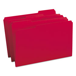 Smead File Folders, Single Ply Top, 1/3 Cut, Legal, Red, 100/Box
