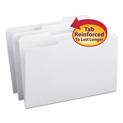 Smead Top Tab File Folders, Double Ply Top, 1/3 Cut, Legal, White, 100/Box