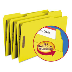 "Smead Folders with Two 2"" Capacity Fasteners, Legal, 1/3 Cut Assorted, Yellow, 50/Box"
