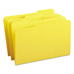Smead File Folders, Single Ply Top, 1/3 Cut, Legal, Yellow, 100/Box
