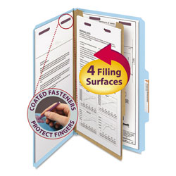 Smead Four Section Pressboard Classification Folders, Legal, Blue, 10/Box
