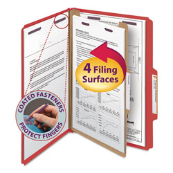 Smead Four Section Pressboard Classification Folders, Legal, Bright Red, 10/Box