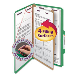 Smead Four Section Pressboard Classification Folders, Legal, Green, 10/Box