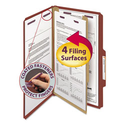 Smead Four Section Pressboard Classification Folders, Legal, 2/5 Self Tab, Red, 10/Box