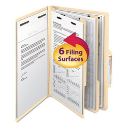 Smead Six Section Manila Classification Folders, 2/5 Right Tab, Legal Size, 10/Box